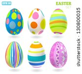 3d Vector Easter Eggs Set With...
