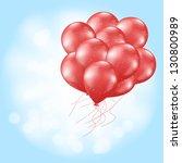 heart balloons flying on light... | Shutterstock .eps vector #130800989