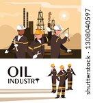 oil industry scene with marine...   Shutterstock .eps vector #1308040597