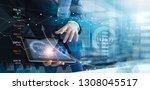 businessman using tablet... | Shutterstock . vector #1308045517