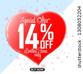 valentines day sale  14  off ... | Shutterstock .eps vector #1308052204