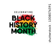 celebrating black history month.... | Shutterstock .eps vector #1308076591