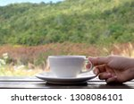 coffee espresso on wood table... | Shutterstock . vector #1308086101