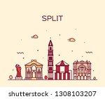 split skyline  croatia. trendy... | Shutterstock .eps vector #1308103207