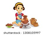 cute little girl making pottery ... | Shutterstock .eps vector #1308105997