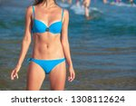 pretty woman in blue bikini... | Shutterstock . vector #1308112624