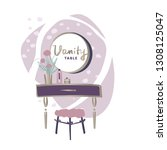 vanity table with cosmetic...   Shutterstock .eps vector #1308125047