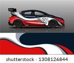 racing car wrap livery design.... | Shutterstock .eps vector #1308126844