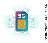 5g sim card. 5g technology...   Shutterstock .eps vector #1308151537