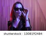 beautiful girl in retro wave on ... | Shutterstock . vector #1308192484