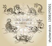 mythological vintage sea... | Shutterstock .eps vector #1308195001