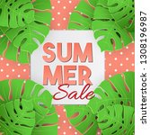 summer sale tropical vector... | Shutterstock .eps vector #1308196987