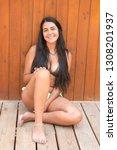 beautiful young girl posing in... | Shutterstock . vector #1308201937