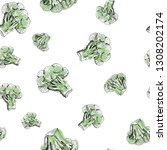 broccoli pattern  seamless... | Shutterstock .eps vector #1308202174