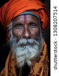 Small photo of Allahabad (Prayagraj), India - January 13, 2019 : Portraits of Sadhus attending the famous Kumbh Mela. Kumbh Mela is a largest congregation in the world.These Sadhus live in a tent during festival.