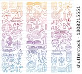 vector set of learning english... | Shutterstock .eps vector #1308215551