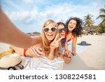 beautiful happy girlfriends... | Shutterstock . vector #1308224581