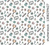 seamless pattern of education... | Shutterstock .eps vector #1308259627