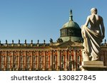 POTSDAM, GERMANY - OCTOBER 26: The Sanssouci palace in Potsdam, Germany. October 26, 2006 Potsdam, Germany. The palace is considered the major work of Rococo architecture in Germany. - stock photo