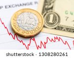 Small photo of British pound US dollar exchange rate: A coin and a bill placed on a red graph showing decrease in currency exchange rate