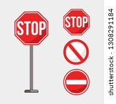 stop sign vector illustration... | Shutterstock .eps vector #1308291184
