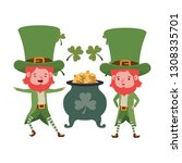 leprechauns with cauldron... | Shutterstock .eps vector #1308335701
