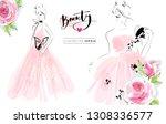 beautiful girls in pink dresses ... | Shutterstock .eps vector #1308336577