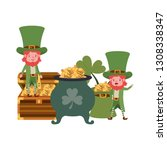 leprechauns with cauldron... | Shutterstock .eps vector #1308338347