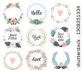 set of cute hand drawn spring... | Shutterstock .eps vector #1308351334
