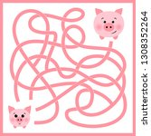 help piggy find path to mother... | Shutterstock .eps vector #1308352264