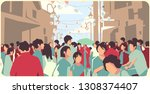 illustration of crowded asian... | Shutterstock .eps vector #1308374407