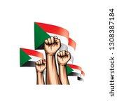 sudan flag and hand on white... | Shutterstock .eps vector #1308387184