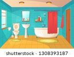 bathroom interior design and... | Shutterstock .eps vector #1308393187