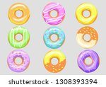 set of multi colored donuts | Shutterstock .eps vector #1308393394