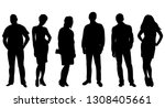 silhouette people stand... | Shutterstock .eps vector #1308405661