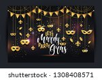 mardi gras frame with a gold... | Shutterstock .eps vector #1308408571