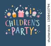 children's party cute vector...   Shutterstock .eps vector #1308410794