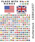 world flag icon collection with ... | Shutterstock . vector #1308416557