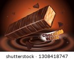 milk chocolate flavor with... | Shutterstock .eps vector #1308418747