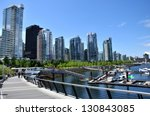 Stock photo vancouver seawall and skyline near vancouver convention centre 130843085
