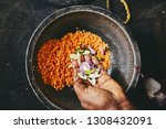 preparation rice and curry meal.... | Shutterstock . vector #1308432091