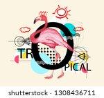pink flamingo. zine culture... | Shutterstock .eps vector #1308436711
