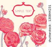 peony vector card. | Shutterstock .eps vector #130844231