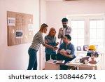 smiling female architect... | Shutterstock . vector #1308446791