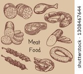 illustration with meat food... | Shutterstock .eps vector #1308467644