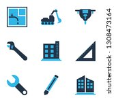 industrial icons colored set... | Shutterstock .eps vector #1308473164