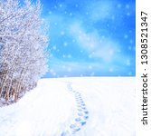 winter landscape with... | Shutterstock . vector #1308521347