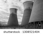 obsolete  cooling tower... | Shutterstock . vector #1308521404