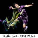 one caucasian handball player... | Shutterstock . vector #1308521494