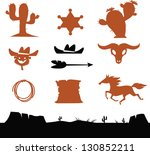 wild west cowboys icons   Shutterstock .eps vector #130852211